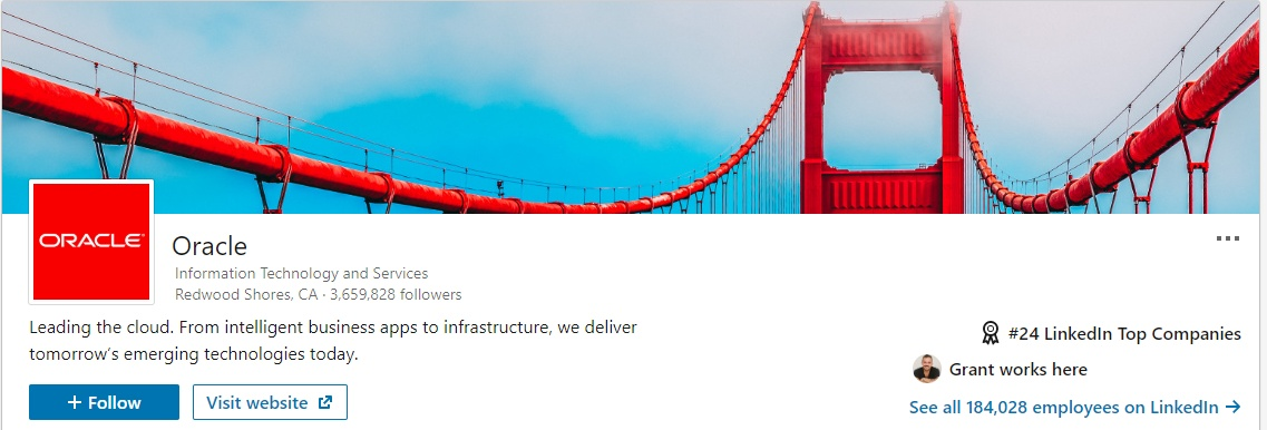 Oracle LinkedIn Company page