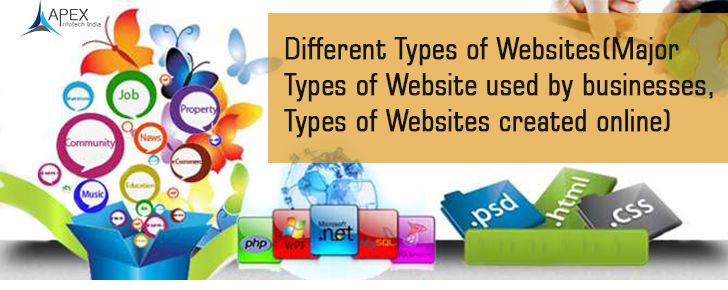 Different Types of Websites (Major Types of Website used by businesses, Types of Websites created online)